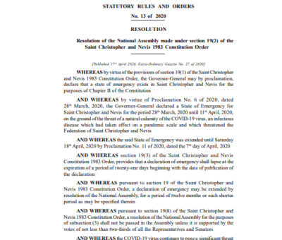 SAINT CHRISTOPHER AND NEVIS STATUTORY RULES AND ORDERS No.13 of 2020 Emergency Powers (COVID-19) (No. 5) Regulations