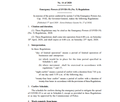 SAINT CHRISTOPHER AND NEVIS STATUTORY RULES AND ORDERS No.14 of 2020 Emergency Powers (COVID-19) (No. 5) Regulations