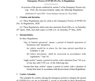 SAINT CHRISTOPHER AND NEVIS STATUTORY RULES AND ORDERS No.15 of 2020 Emergency Powers (COVID-19) (No. 6) Regulations