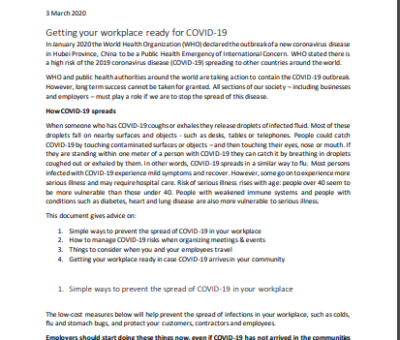 Getting your workplace ready for COVID-19
