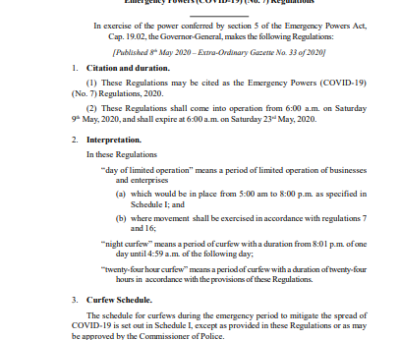 SAINT  CHRISTOPHER  AND  NEVIS STATUTORY RULES AND ORDERS No. 16 of 2020 Emergency Powers (COVID-19) (No. 7) Regulations