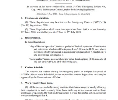SAINT CHRISTOPHER AND NEVIS STATUTORY RULES AND ORDERS No. 27 of 2020 Emergency Powers (COVID-19) (No. 10) Regulations