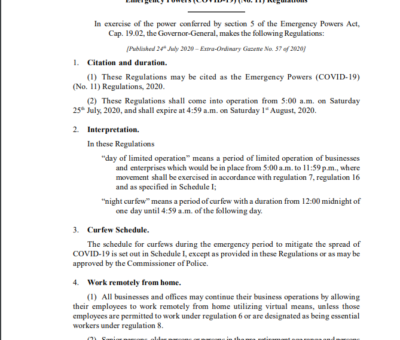 SAINT CHRISTOPHER AND NEVIS STATUTORY RULES AND ORDERS No. 32 of 2020 Emergency Powers (COVID-19) (No. 11) Regulations