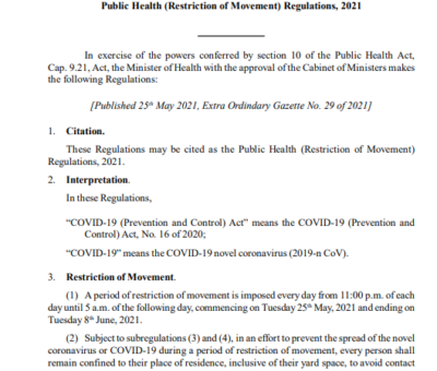 SAINT CHRISTOPHER AND NEVIS STATUTORY RULES AND ORDERS No.15 of 2021  Public Health(Restriction of Movement_ Regulations)